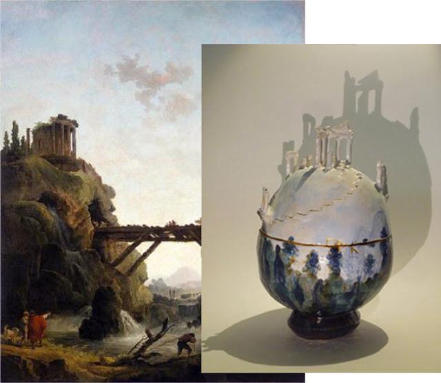Hubert Robert : Vue imaginaire de Tivoli - Emmanuelle Mellot Kristy : Le Rocher (photo : Jeanne Cécile Cabanis)