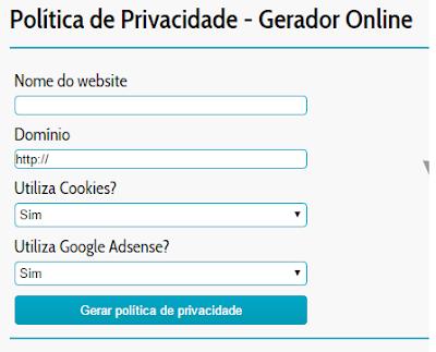 gerador online politica de privacidade