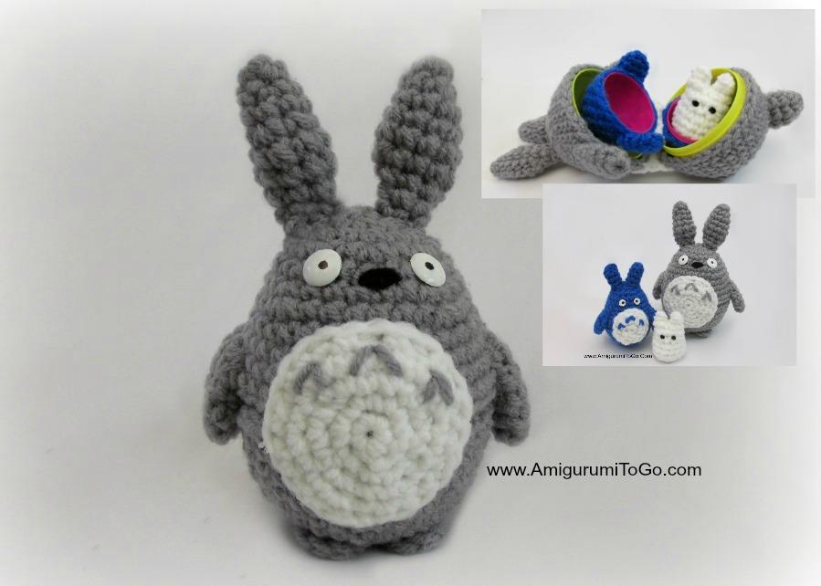 Amigurumi Totoro : Large totoro pattern three of three for stacking set amigurumi to go
