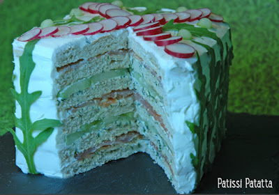 recette de sandwich cake au saumon, apéritif festif, apéritif au saumon