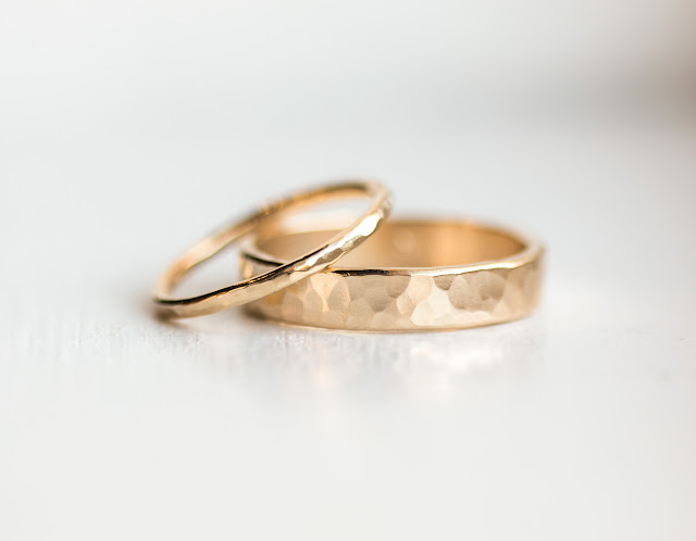 Solid 14k gold handmade wedding bands, His & Hers 4mm & 1.5mm hand hammered rings with bright polish finish by Melanie Casey