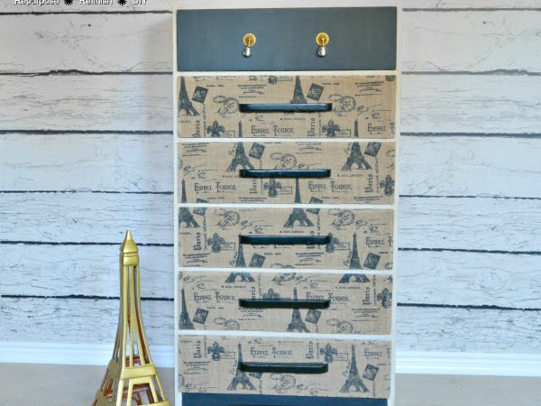 Vintage Waterfall Dresser Makeover With Decoupage Fabric