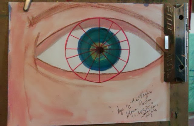 "Sketch created by Gloria Poole & named ""eye of the tiger"";"
