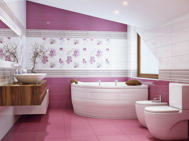 Thiết kế phòng tắm với tông màu tím