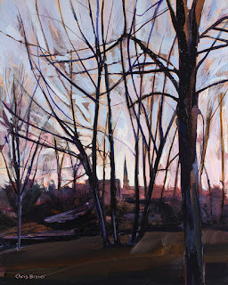 A painting of trees and the steeple from Saint Pauls and Peters church located in Williamsville NY, viewed from Island Park.