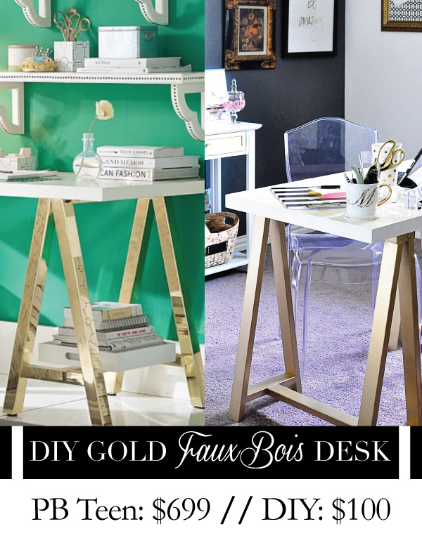 This blogger turned an old sawhorse desk into a Pottery Barn Teen inspired faux bois gold sawhorse desk. DIY tutorial via monicawantsit.com
