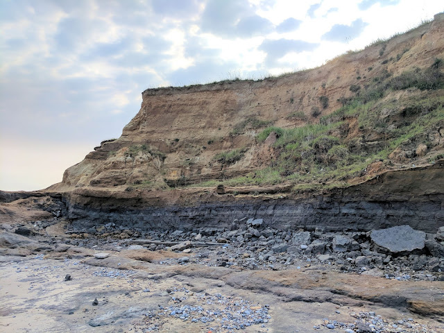 The cliff section at Happisburgh. From top to bottom: Happisburgh Sand Member, Ostend Clay, Happisburgh Till