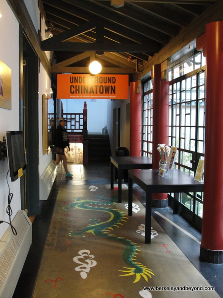 dragon leads to Underground Chinatown exhibit at Chinese Historical Society of America museum in a Julia Morgan building in Chinatown San Francisco