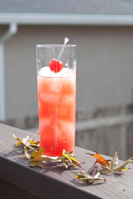 Thanksgiving cocktail, pumpkin pie vodka, cranberry juice, orange juice, grenadine