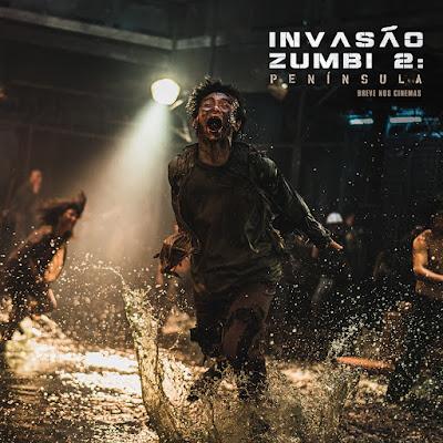 Imagem do filme Invasão Zumbi 2: Península com destaque em um zumbi correndo em um local com água