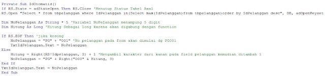 Membuat Kode Otomatis pada VB6