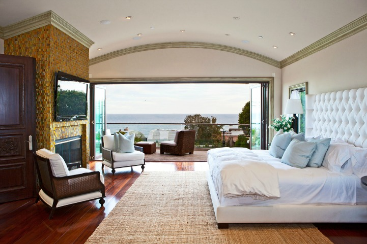 Coastal modern bedroom with ocean view