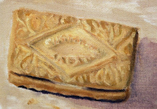 custard cream biscuit as painting