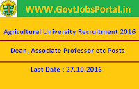 Agricultural University Recruitment 2016 for Faculty Posts Apply Here