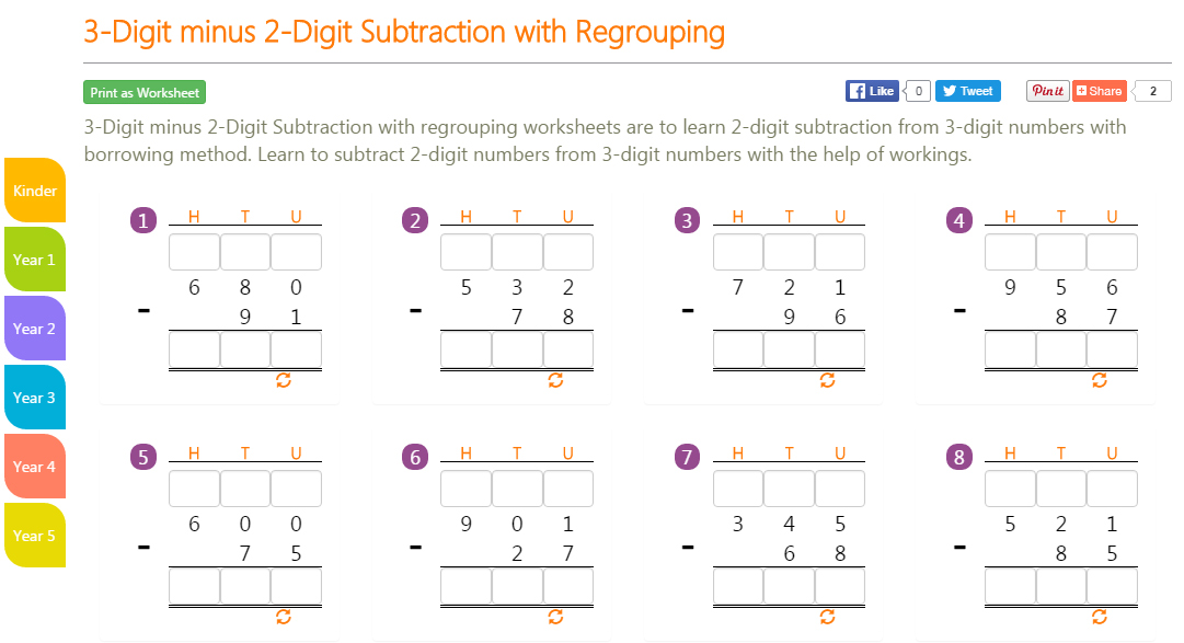 K8 School Lessons 3Digit minus 2Digit Subtraction with Regrouping – Subtracting 0 1 2 Worksheets