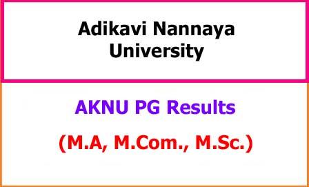 Adikavi Nannaya University PG Exam Results 2021 - MA MCom MSc