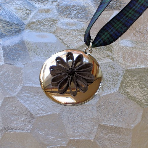 Quilled Flower Locket - paper jewelry by Ann Martin