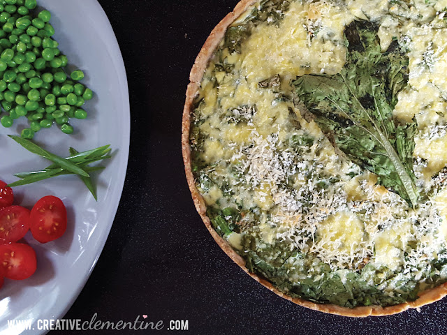 One Bowl Green Monster Quiche: A healthy summer quiche using bitter greens, garlic scapes, and other common Vegetable CSA box ingredients.