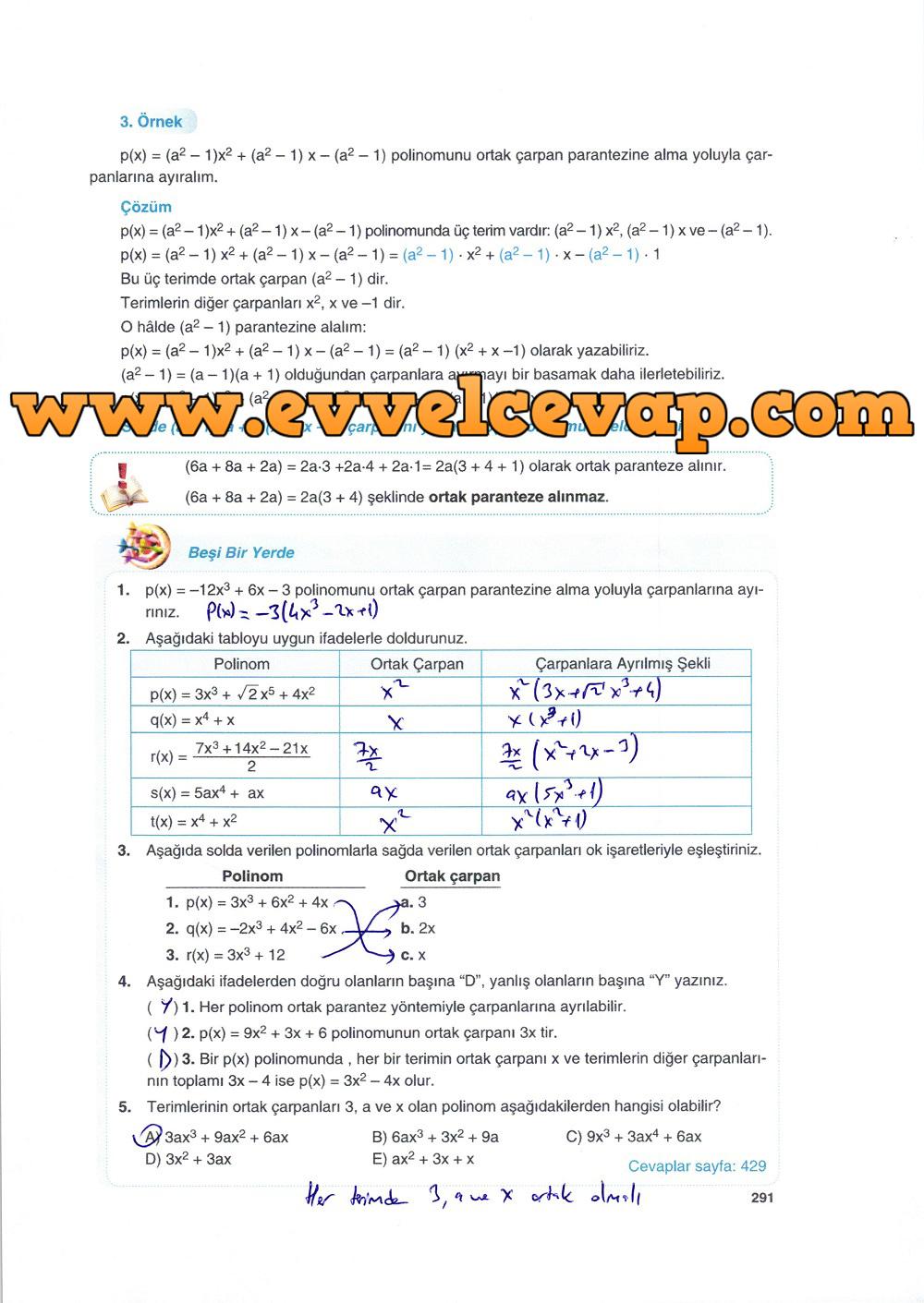 10. Sınıf Matematik Tuna Yayınları Ders Kitabı 291. Sayfa Çözümleri