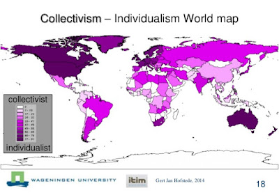 Degrees of collectivism in the world