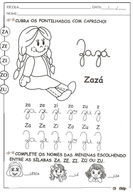 Atividades De Alfabetizacao Com A Letra Z Para Imprimir E Colorir