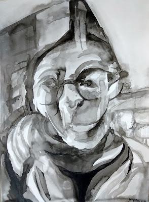 retrato tinta china Benjamin Vilella pez