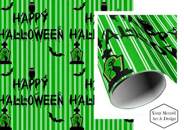 Halloween-happy-paper-gift-green-pattern-design-by-yamy-morrell