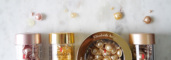 Textures of Elizabeth Arden Ceramide Capsules in different formulas: Vitamin C, Retinol, Advanced Daily Youth Restoring Serum, Advanced Daily Youth Restoring Eye Serum