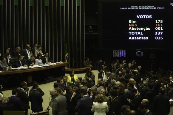 Votação favorável ao presidente Temer alcançou os 172 votos necessários para rejeitar a denúnciaFabio Rodrigues Pozzebom/Agência Brasil