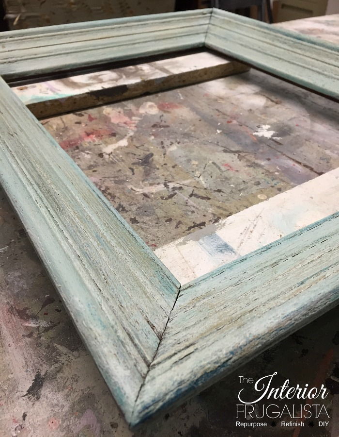 Picture Frame Serving Tray Dry Brushed Paint Layers