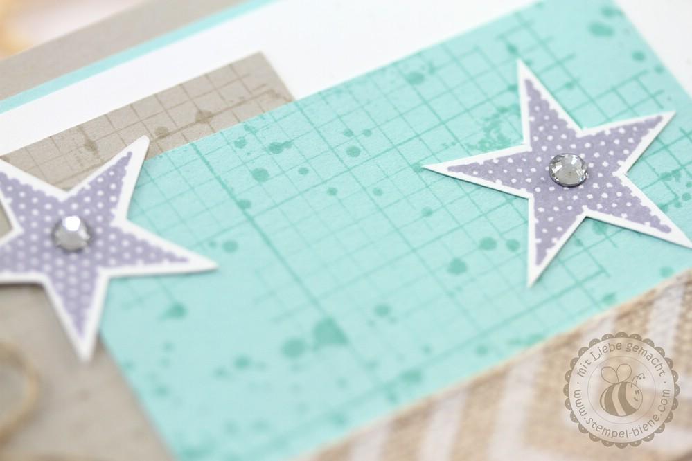 Geburtstagskarte mit Stampin' Up Off The Grid, Gorgeous Grunge, Happy Watercolor, Geschenkband mit Fischgrätenmuster, Stampin' Up Jahreskatalog 2014-2015, Stampin' Up Sammelbestellung, Stampin Up Stempelparty Ruhrgebiet