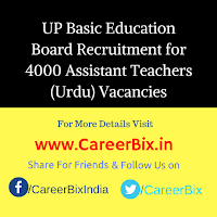 UP Basic Education Board Recruitment for 4000 Assistant Teachers (Urdu) Vacancies