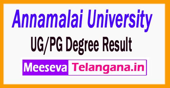 Annamalai University Results Univ UG/PG Degree Result
