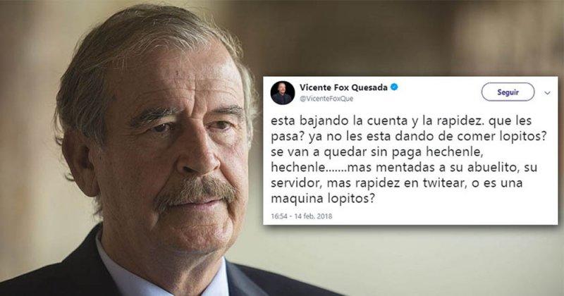 """Vicente Fox ofende a seguidores de AMLO, los llama """"perrada twittera"""""""