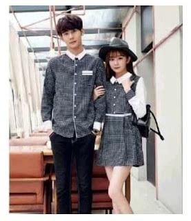 dress couple kotak lengan panjang - baju pasangan kemeja couple VC