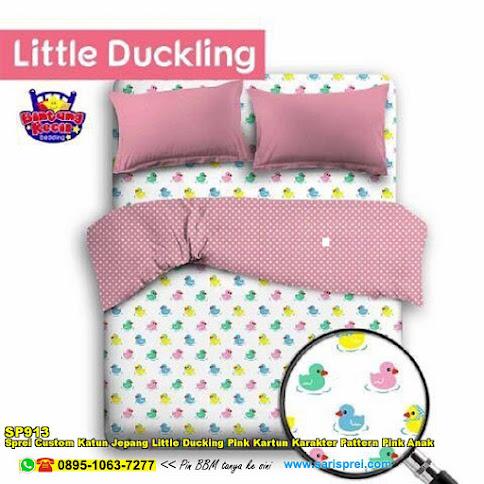 Sprei Custom Katun Jepang Little Ducking Pink Kartun Karakter Pattern Pink Anak