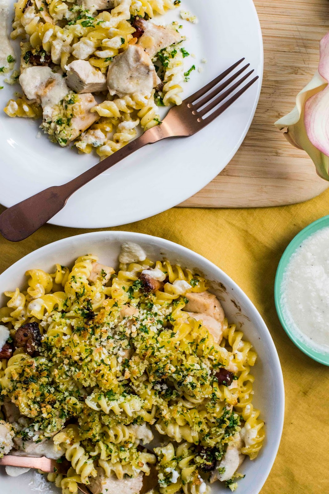 Creamy Chicken And Pancetta Fusilli With A Garlic And Parsley Gratin