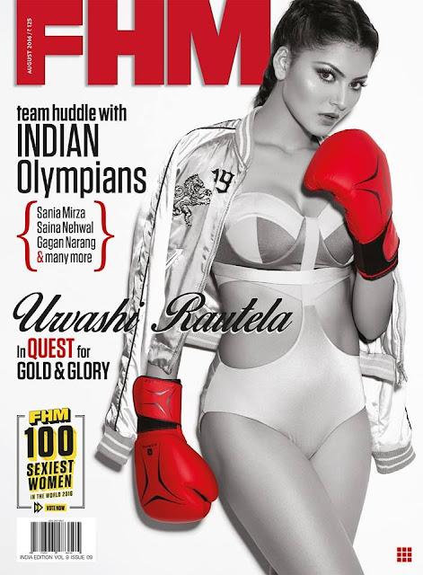 Urvashi Rautela sporty in FHM India