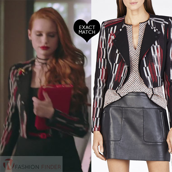 Cheryl Blossom In Black Printed Cropped Jacket On Riverdale