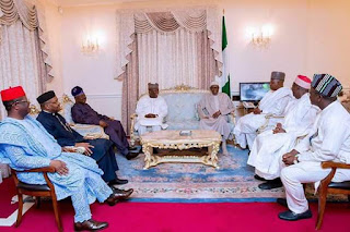 President Buhari visited in London by state Governors