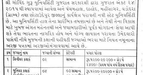 Shree Govind Guru University Godhra Recruitment for Clerk
