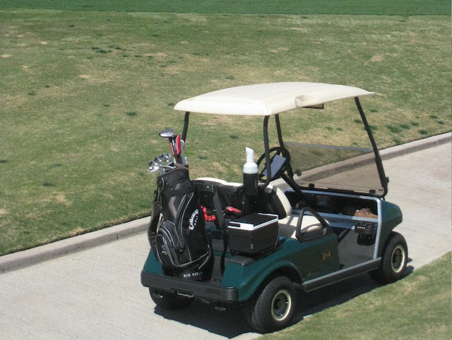 The cart fee at a golf course covers the use of a riding cart