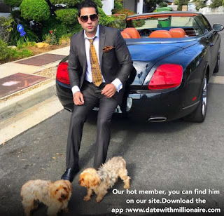 This is a caring millionaire who doesn't forget to bring his own pet even when he takes pictures with his Bentley car