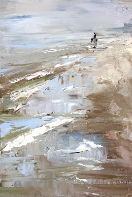Lonely rider on the beach, seascape oil painting with horse by Philine van der Vegte