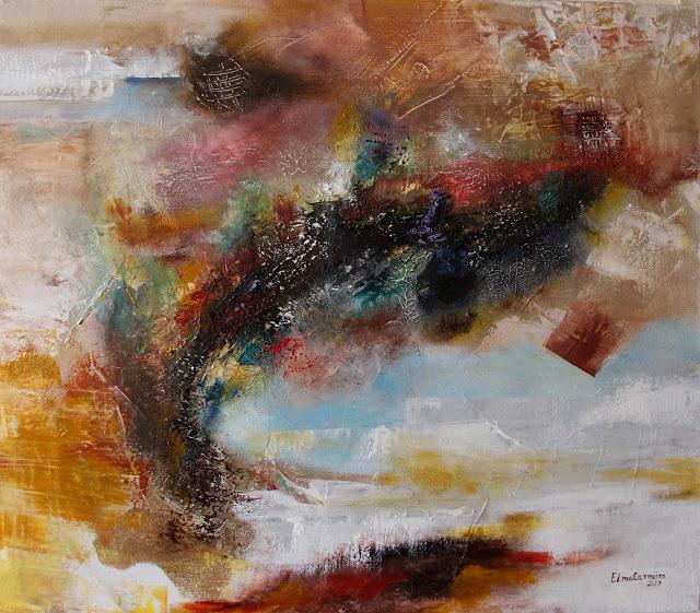 Mista sobre tela - abstrato, efeitos e texturas -artista Elma Carneiro