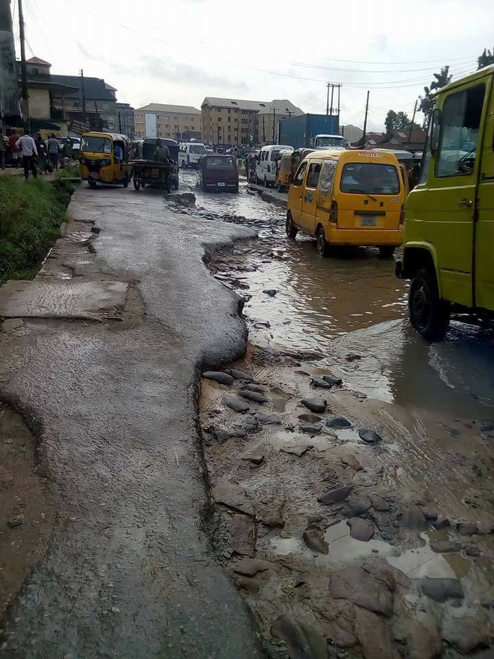 See the state of a Federal Government-owned road in Aba, Abia State
