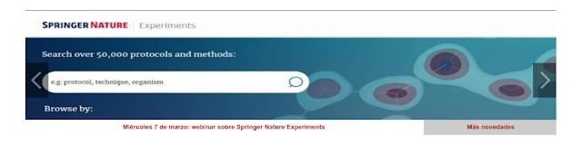 Miércoles 7 de marzo, webinar sobre Springer Nature Experiments