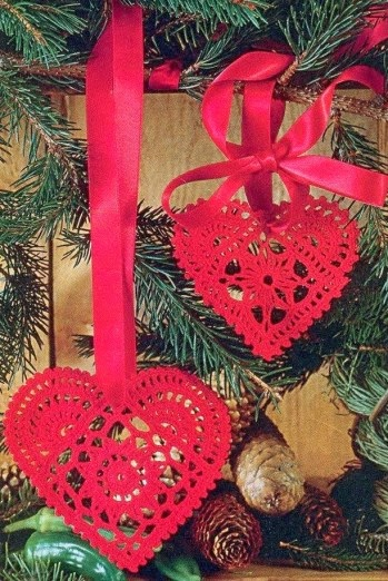 Cuori Da Appendere Allalbero Di Natale Uncinetto