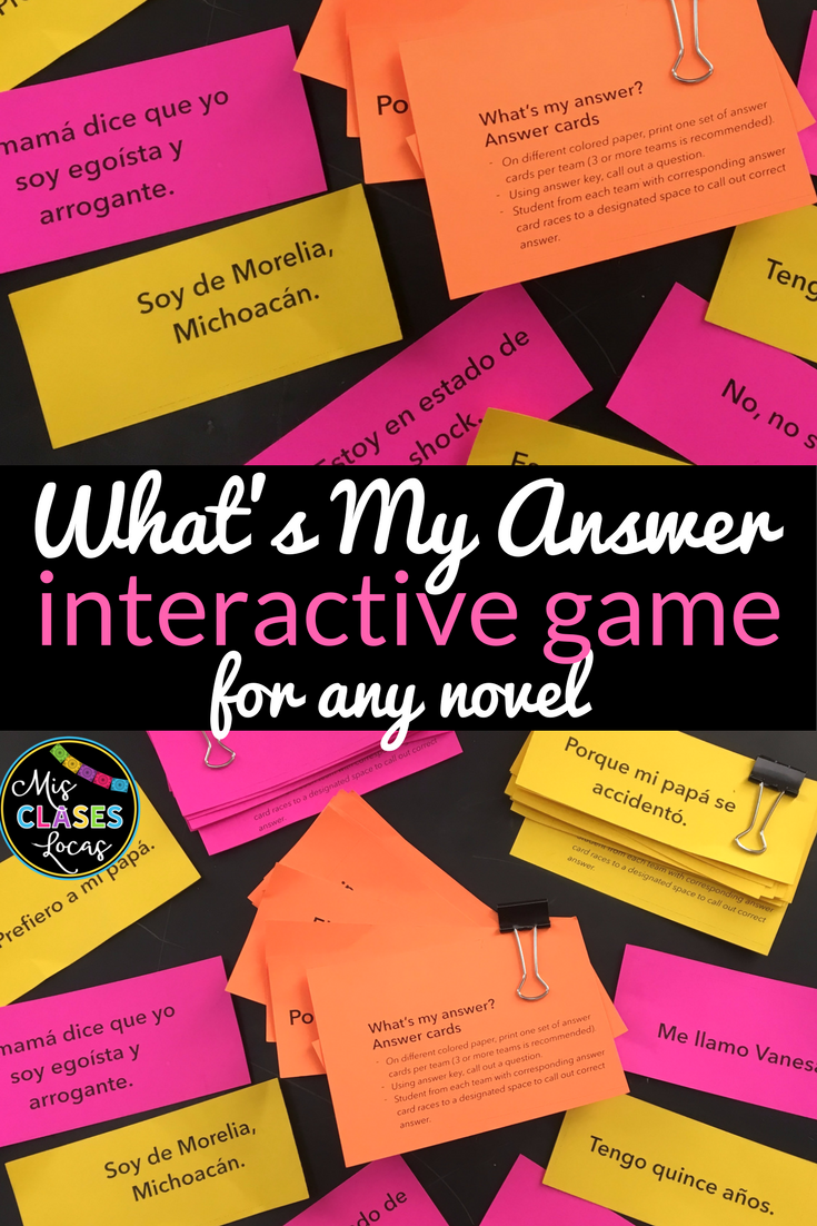 What's my answer - fun game for any novel