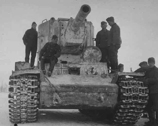 Captured Soviet KV-2 tank near Leningrad, 5 December 1941 worldwartwo.filminspector.com